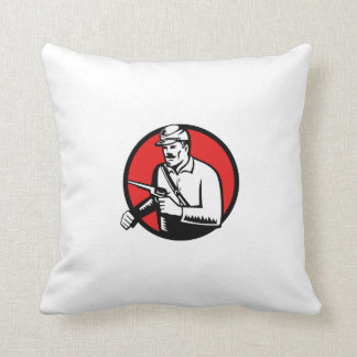 Union Soldier With Pistol Circle Woodcut Throw Pillow