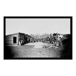 Union Soldiers in Front of Log Cabins 1864 Poster