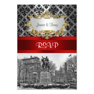 "Union Square NYC Black Damask 211 RSVP 2 3.5"" X 5"" Invitation Card"
