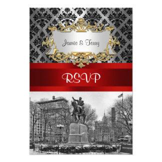 Union Square NYC Black Damask 211 RSVP 2 Custom Invitations