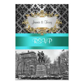Union Square NYC Black Damask 212 RSVP 1 Card