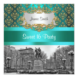 """Union Square NYC Gold Teal Damask 222 Sweet 16 5.25"""" Square Invitation Card"""