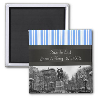 Union Square NYC in Winter BW 01 Save the Date Square Magnet