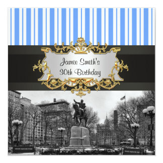 """Union Square NYC in Winter BW 01G Birthday Party 5.25"""" Square Invitation Card"""