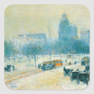 Union Square, Winter, Hassam Vintage Impressionism Stickers