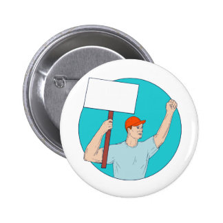 Union Worker Activist Placard Protesting Fist Up C 2 Inch Round Button