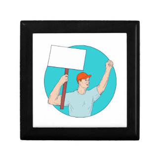 Union Worker Activist Placard Protesting Fist Up C Gift Box