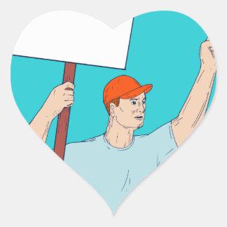 Union Worker Activist Placard Protesting Fist Up C Heart Sticker