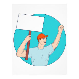 Union Worker Activist Placard Protesting Fist Up C Letterhead