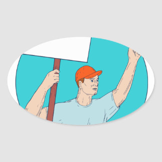 Union Worker Activist Placard Protesting Fist Up C Oval Sticker