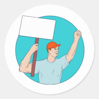 Union Worker Activist Placard Protesting Fist Up C Round Sticker