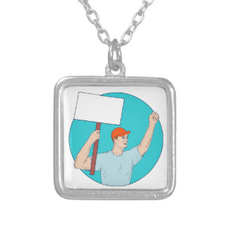 Union Worker Activist Placard Protesting Fist Up C Silver Plated Necklace