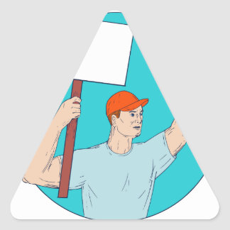 Union Worker Activist Placard Protesting Fist Up C Triangle Sticker