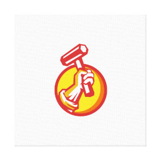 Union Worker Hand Holding Hammer Circle Retro Canvas Print