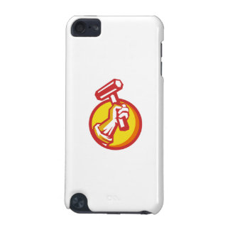 Union Worker Hand Holding Hammer Circle Retro iPod Touch (5th Generation) Covers