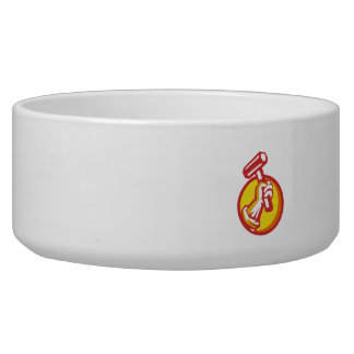 Union Worker Hand Holding Hammer Circle Retro Pet Bowl