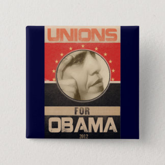 Unions for Obama 2012 Grunge 2 Inch Square Button