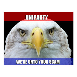 Uniparty We're Onto Your Scam Postcard