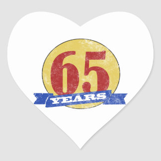 Unique 65th Birthday Heart Sticker