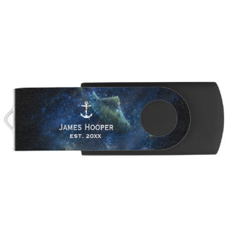 Unique anchor with name and date | Nautical Gifts USB Flash Drive