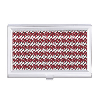 Unique and Cool Red & White Argyle Styled Pattern Business Card Holder