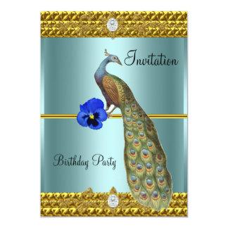 Unique and Elegant Gold  and  Peacock Invitation