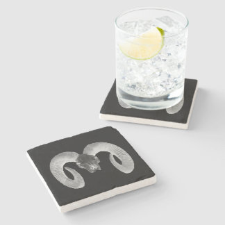 unique and handmade  goat skull stone coaster