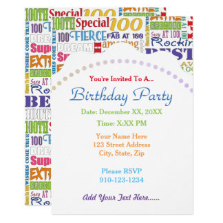 Unique And Special 100th Birthday Party Gifts Card