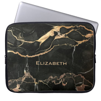 Unique Antique Black Marble and Name Laptop Sleeve