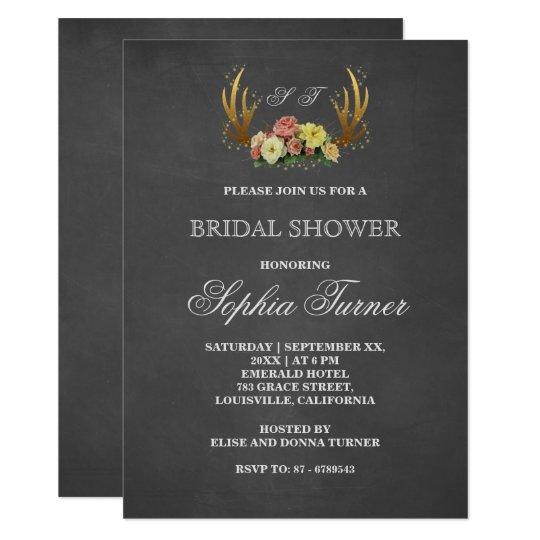 Unique Antlers Floral Chalkboard Bridal Shower Card