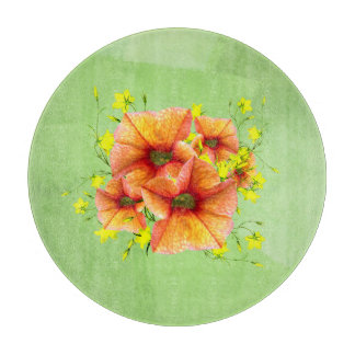 Unique Apricot Orange and Yellow Flowers Cutting Boards