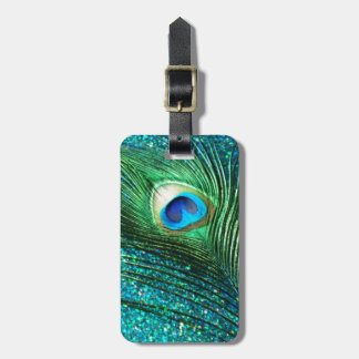 Unique Aqua Peacock Luggage Tag