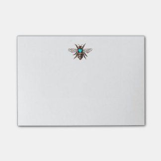 Unique Artistic Bee with Turquoise Heart Nature Post-it Notes