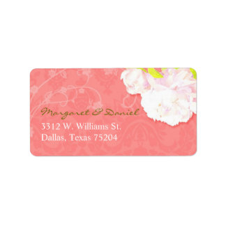Unique, Artistic Peony Theme Wedding Address Label