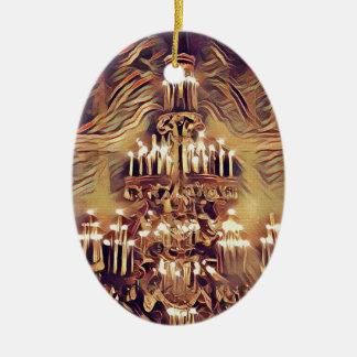 Unique Artistic Vintage Lighted Chandelier Ceramic Oval Ornament