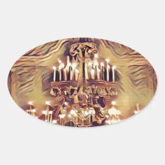 Unique Artistic Vintage Lighted Chandelier Oval Sticker