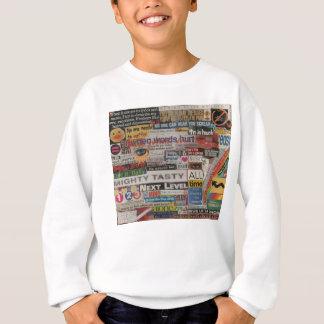 unique artistic word collage paper mache sweatshirt