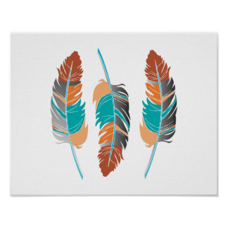 Unique Autumn Feathers with Teal Poster