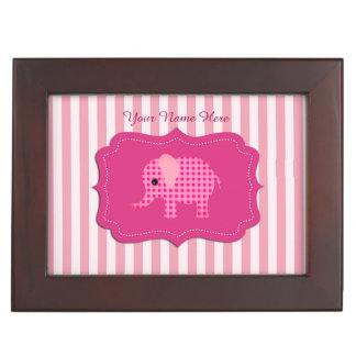 Unique Baby Elephant Pink Personalized Keepsake Box