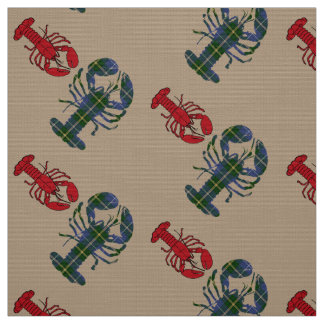 Unique Beach fabric red Lobster Tartan taupe