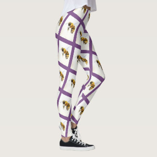 Unique Bee Leggings Purple Striped Queen Bee