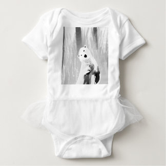 Unique Black and White Polar Bear Design Baby Bodysuit