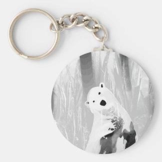 Unique Black and White Polar Bear Design Basic Round Button Keychain