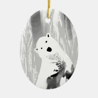 Unique Black and White Polar Bear Design Ceramic Oval Ornament