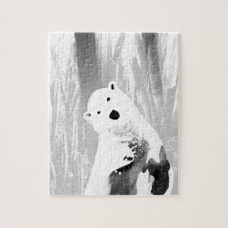 Unique Black and White Polar Bear Design Jigsaw Puzzle