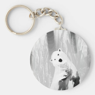 Unique Black and White Polar Bear Design Keychain