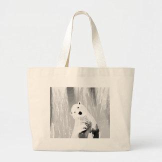 Unique Black and White Polar Bear Design Large Tote Bag