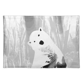 Unique Black and White Polar Bear Design Placemat
