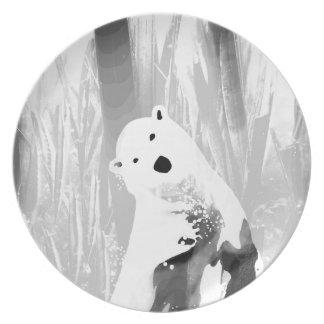 Unique Black and White Polar Bear Design Plate