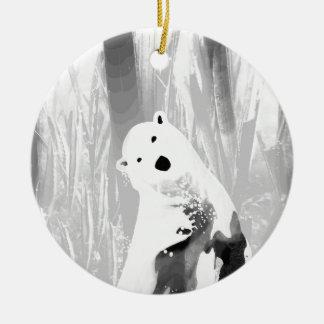 Unique Black and White Polar Bear Design Round Ceramic Ornament